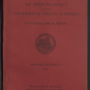 ASPCA Fifty-Eighth Annual Report, 1923