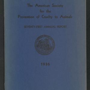 ASPCA Seventy-First Annual Report, 1935