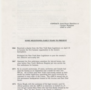 ASPCA Timeline and News Items, 1990s