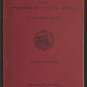ASPCA Fiftieth Annual Report, 1915