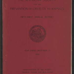 ASPCA Fifty-First Annual Report, 1916