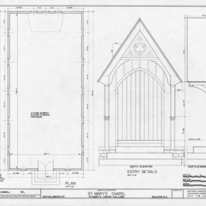 Plan and entryway details, St. Mary's Chapel, Raleigh, North Carolina