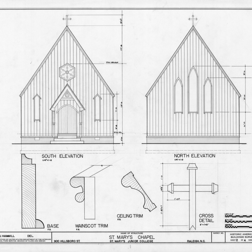 Elevations and trim details, St. Mary's Chapel, Raleigh, North Carolina