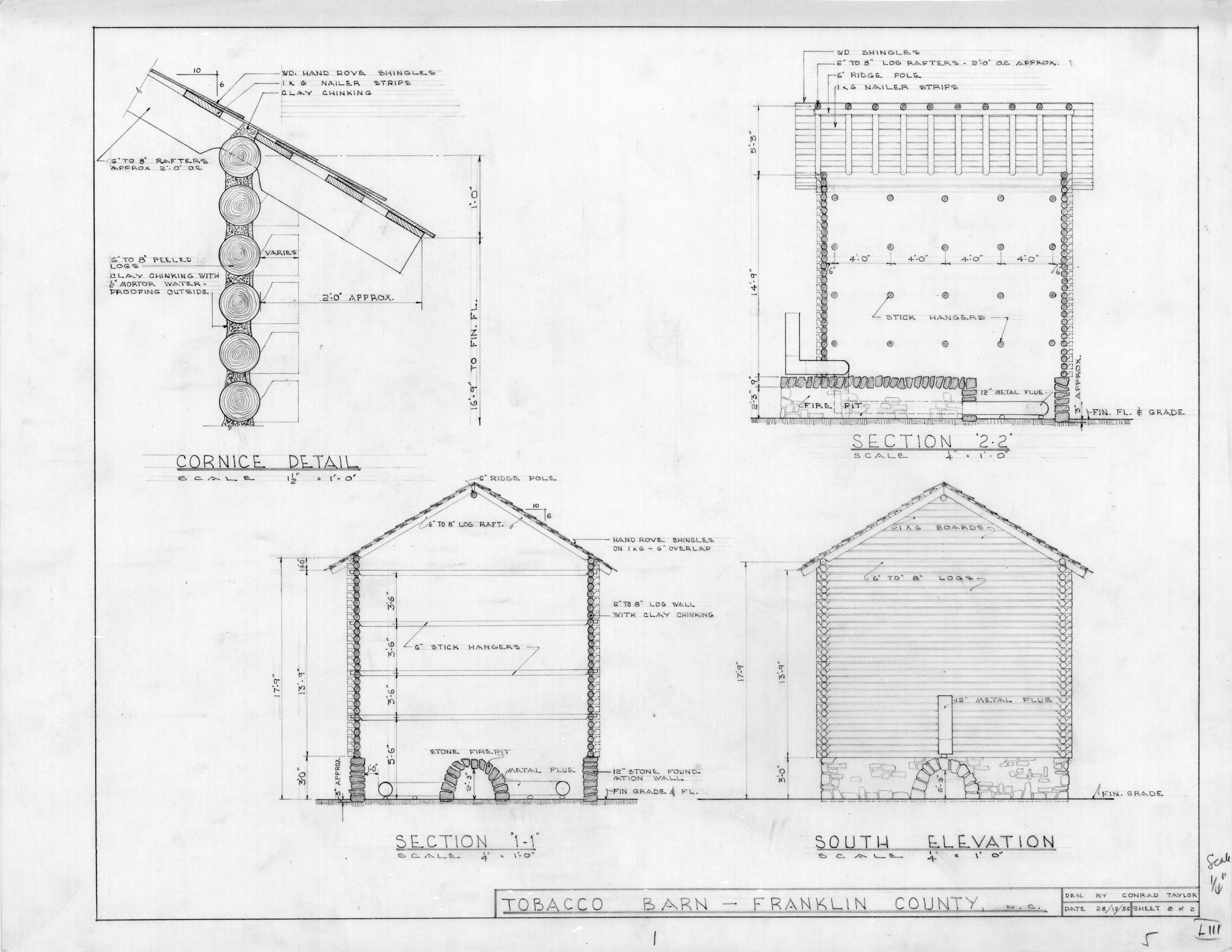 Sections cornice detail and south elevation tobacco for Tobacco barn house plans