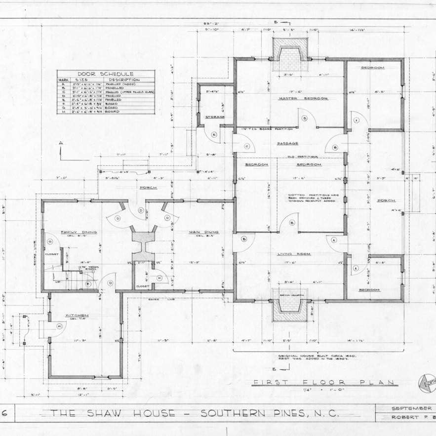 First floor plan, Shaw House, Southern Pines, North Carolina