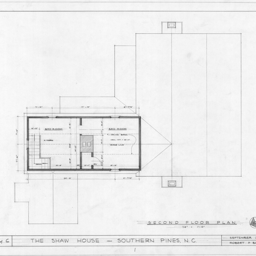 Second floor plan, Shaw House, Southern Pines, North Carolina