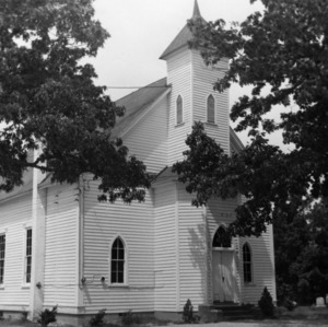 Front view with doors and steeple, Hollands Methodist Church, Wake County, North Carolina