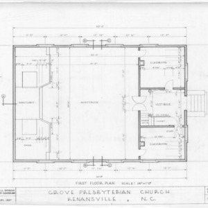 First floor plan, Grove Presbyterian Church, Kenansville, North Carolina