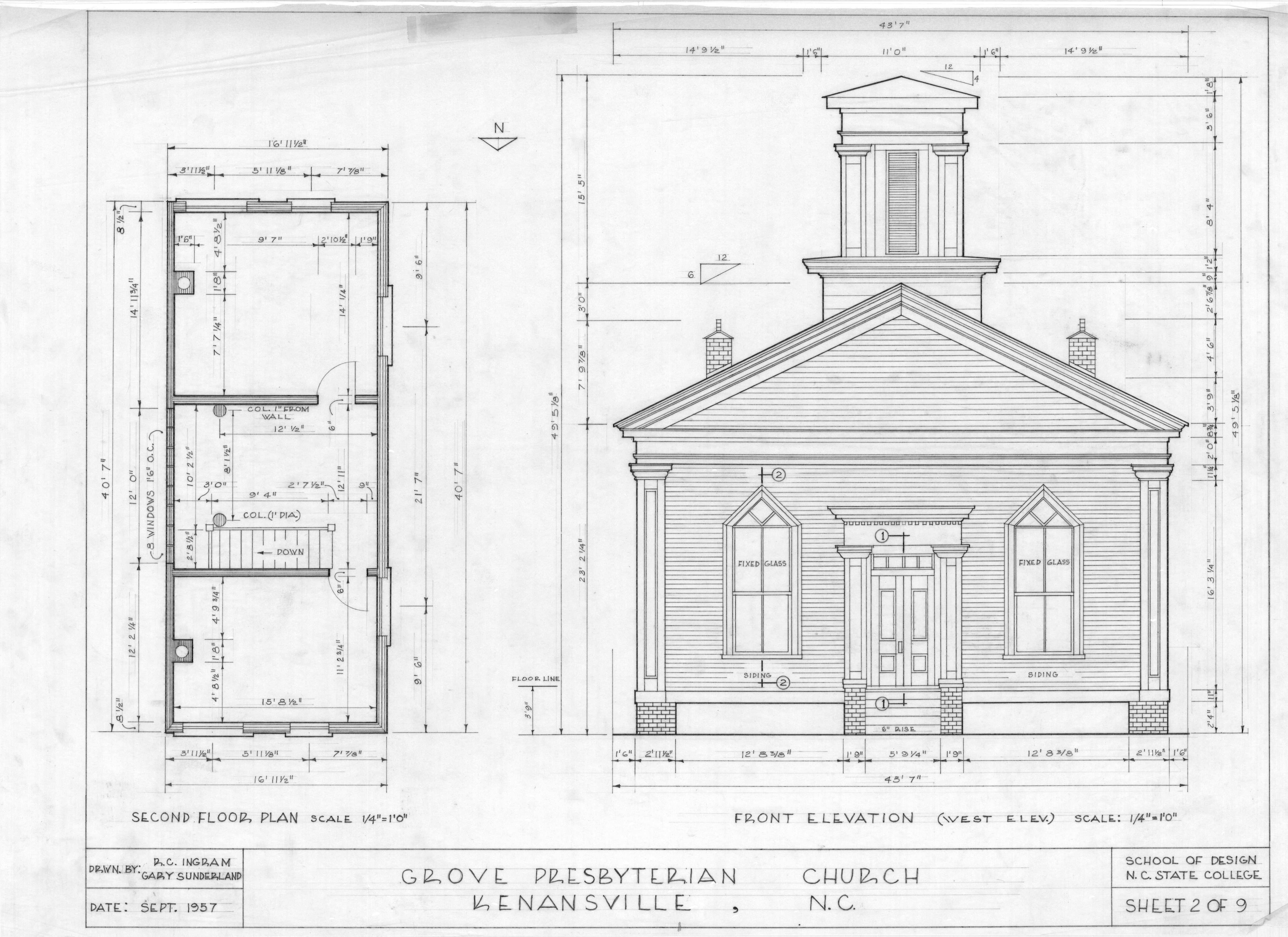 Church Elevation Plan : Second floor plan and west elevation grove presbyterian