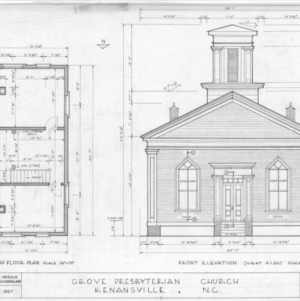 Second floor plan and west elevation, Grove Presbyterian Church, Kenansville, North Carolina