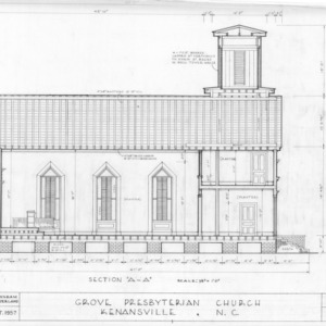 Longitudinal section, Grove Presbyterian Church, Kenansville, North Carolina