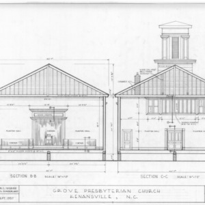 Cross sections, Grove Presbyterian Church, Kenansville, North Carolina