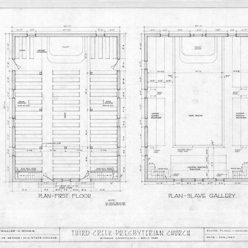 Floor plans, Third Creek Presbyterian Church, Rowan County, North Carolina