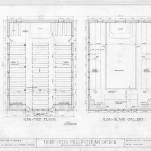 Floor plans, Third Creek Presbyterian Church, Rowan County, North Carolina