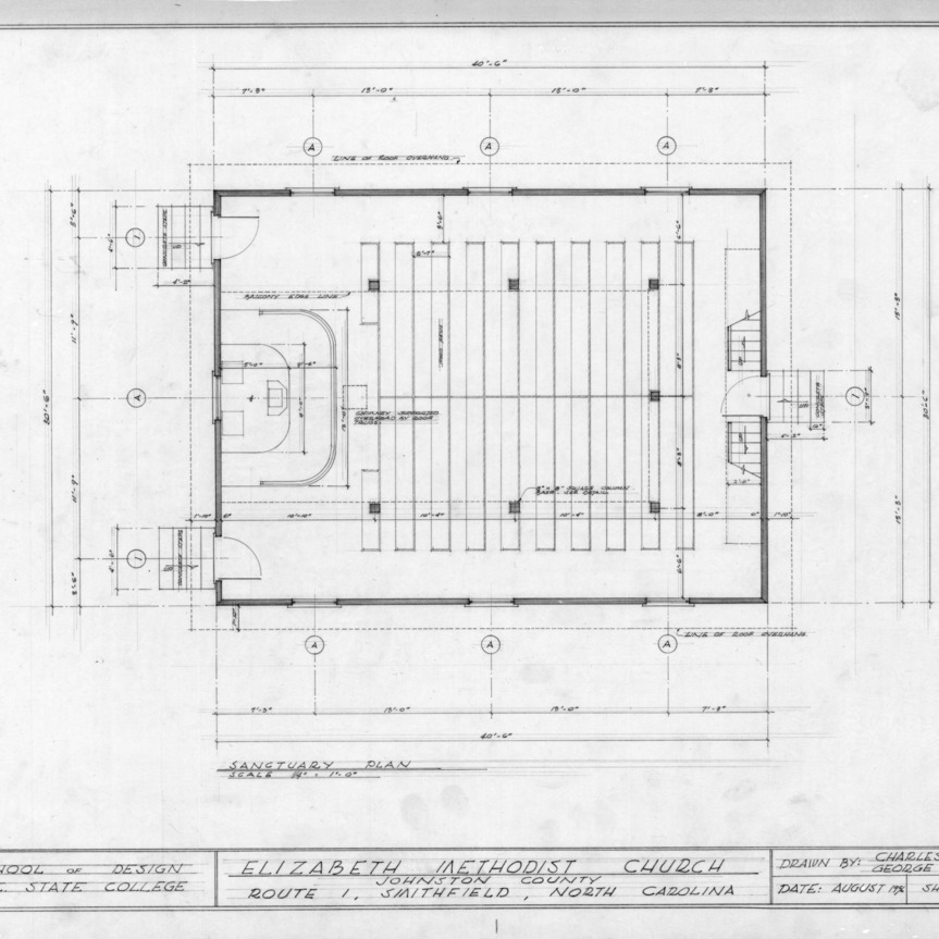 Sanctuary plan, Elizabeth Methodist Church, Johnston County, North Carolina