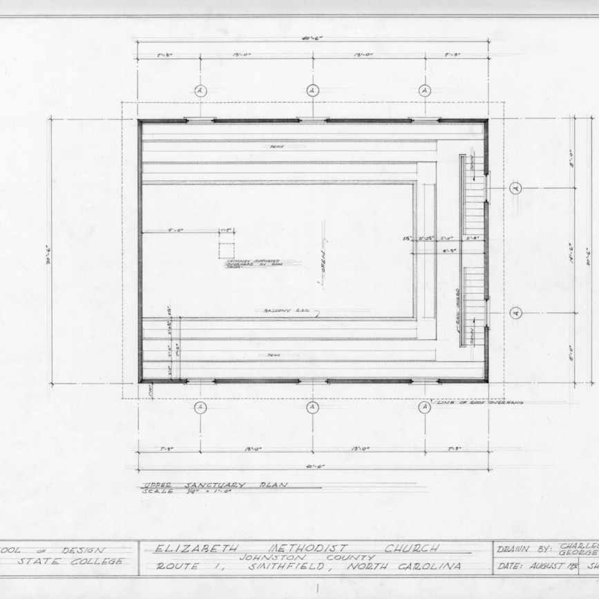 Upper sanctuary plan, Elizabeth Methodist Church, Johnston County, North Carolina