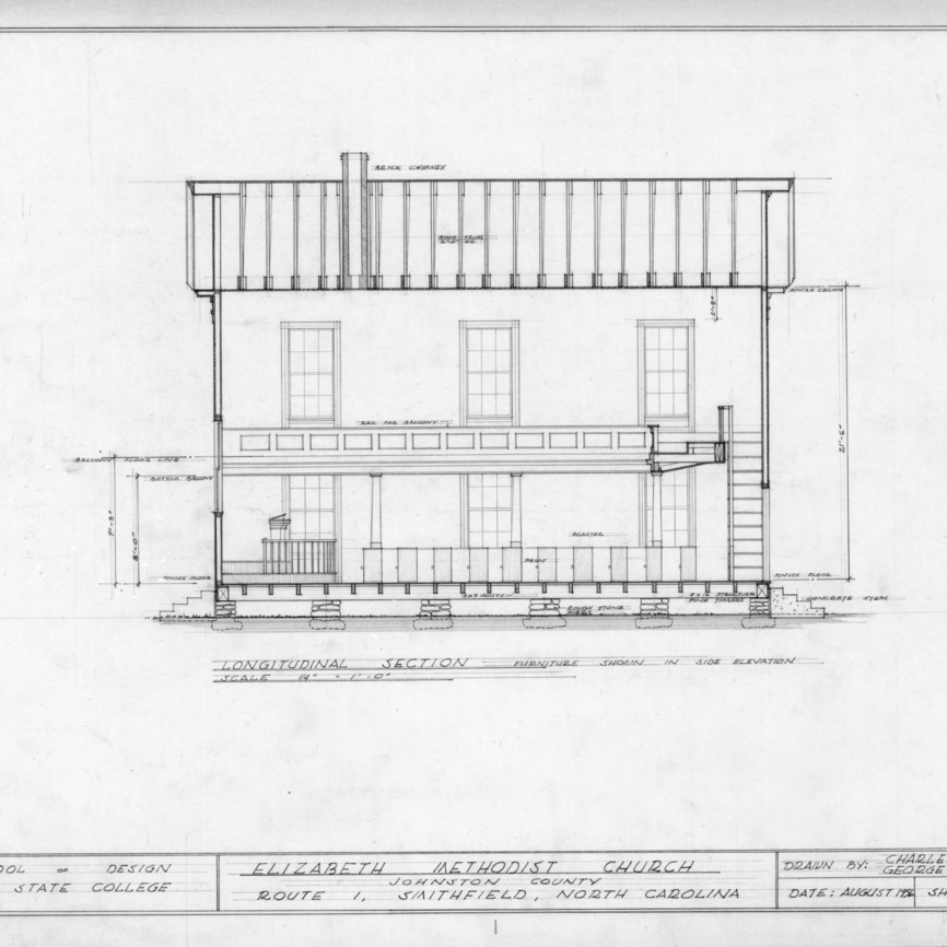Longitudinal section, Elizabeth Methodist Church, Johnston County, North Carolina