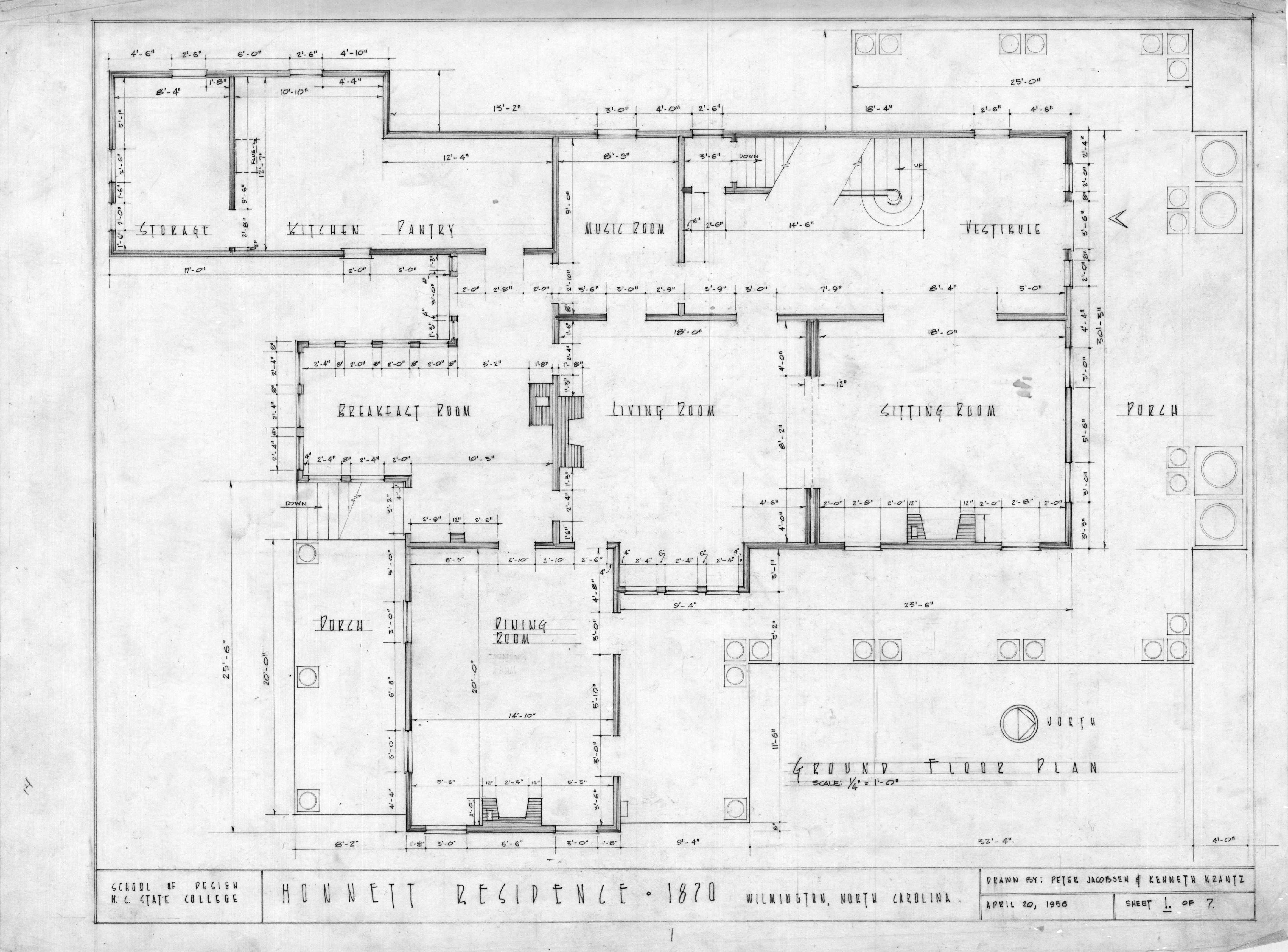 First floor plan honnet house wilmington north carolina for Historic floor plans