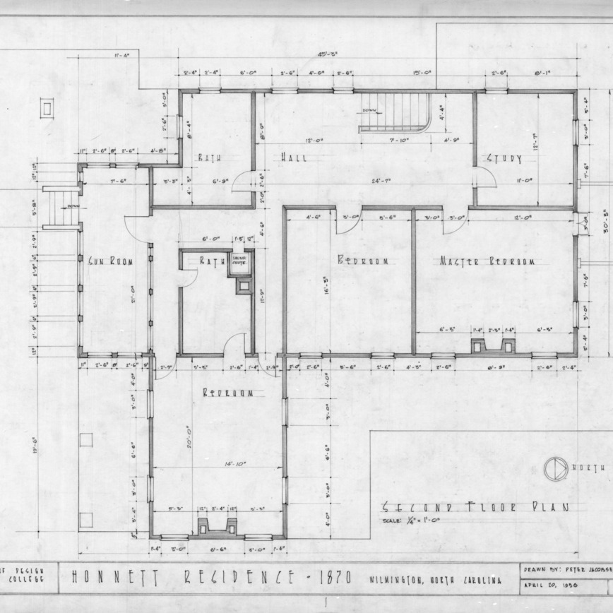 Second floor plan, Honnet House, Wilmington, North Carolina