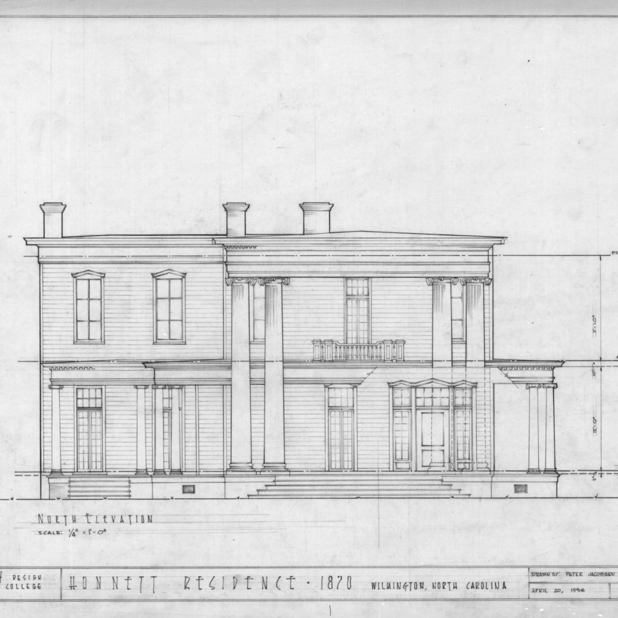 North elevation, Honnet House, Wilmington, North Carolina