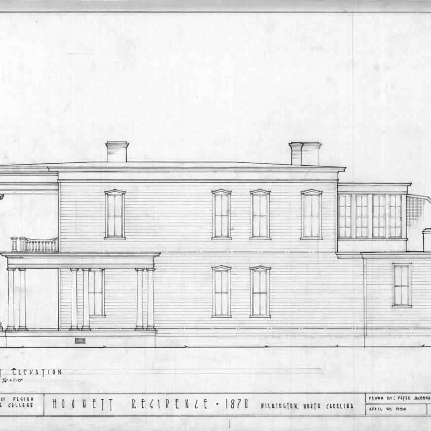 West elevation, Honnet House, Wilmington, North Carolina