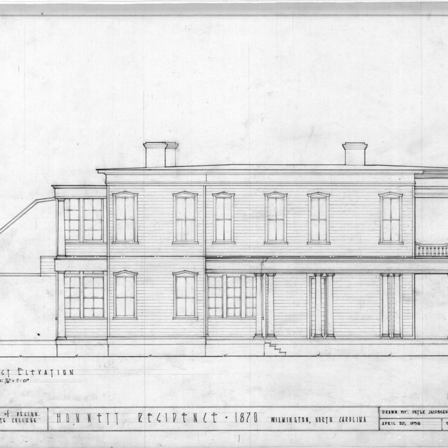 East elevation, Honnet House, Wilmington, North Carolina