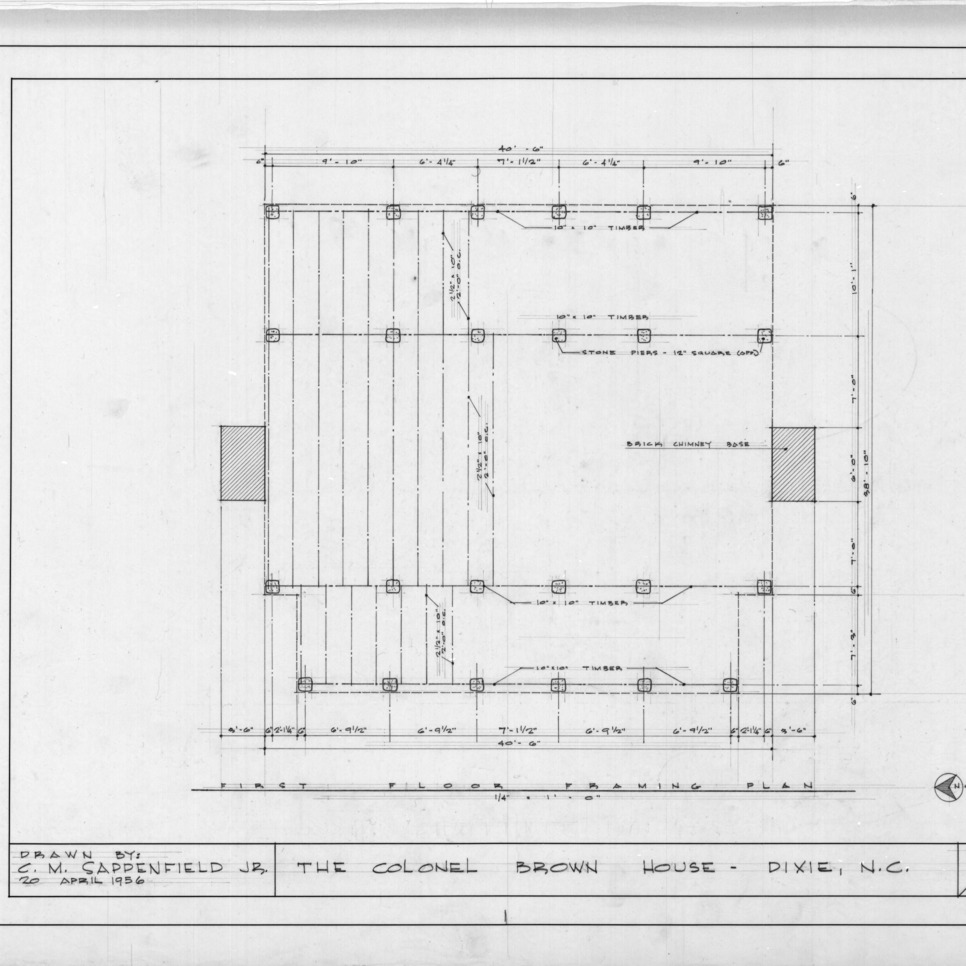 Framing plan, Colonel Benjamin Franklin Brown House, Dixie, North Carolina