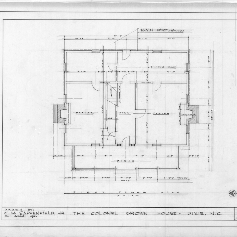 First floor plan, Colonel Benjamin Franklin Brown House, Dixie, North Carolina