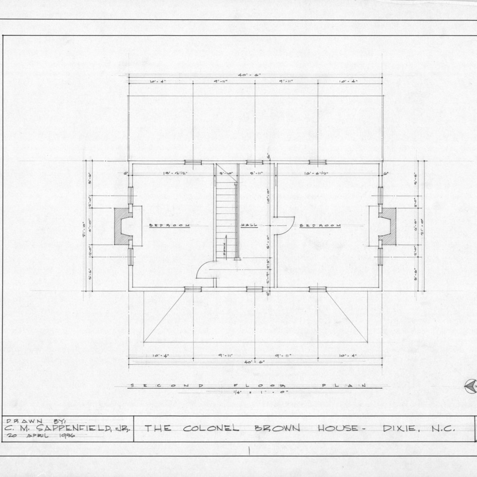 Second floor plan, Colonel Benjamin Franklin Brown House, Dixie, North Carolina