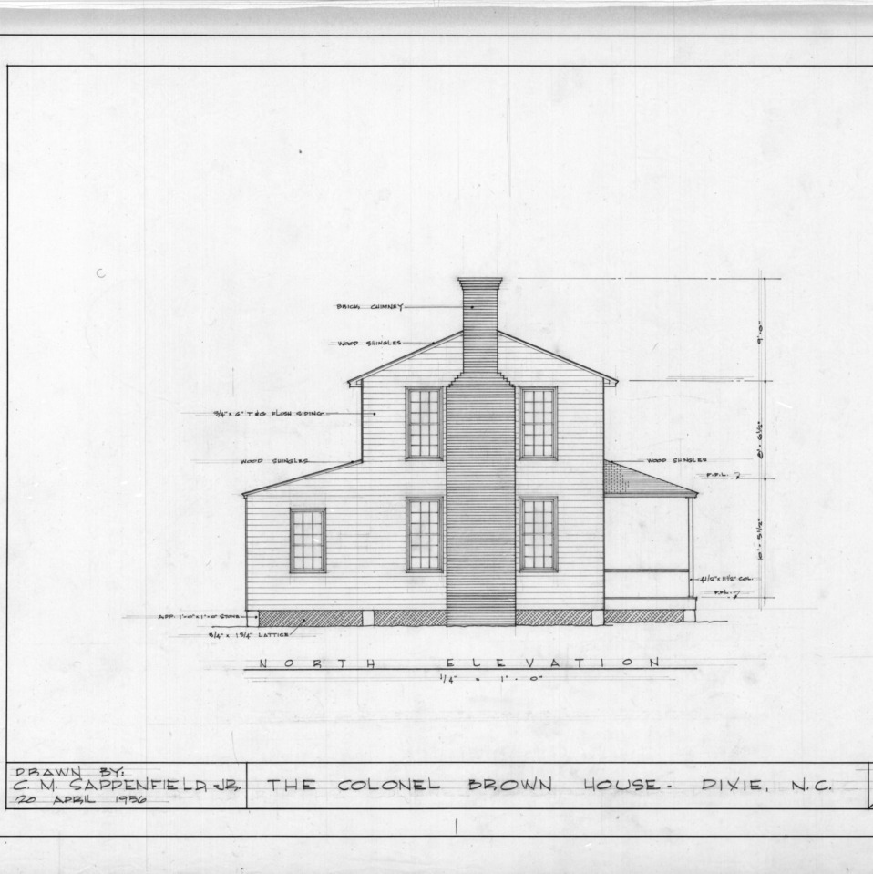 North elevation, Colonel Benjamin Franklin Brown House, Dixie, North Carolina