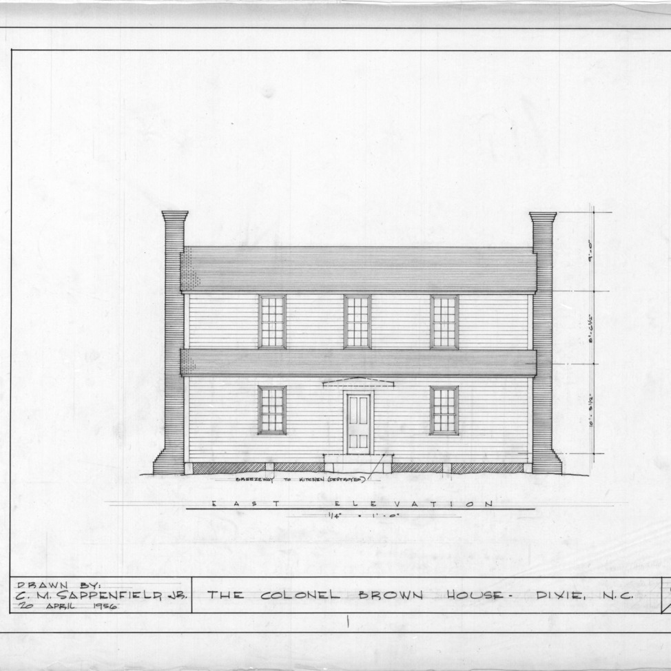 East elevation, Colonel Benjamin Franklin Brown House, Dixie, North Carolina