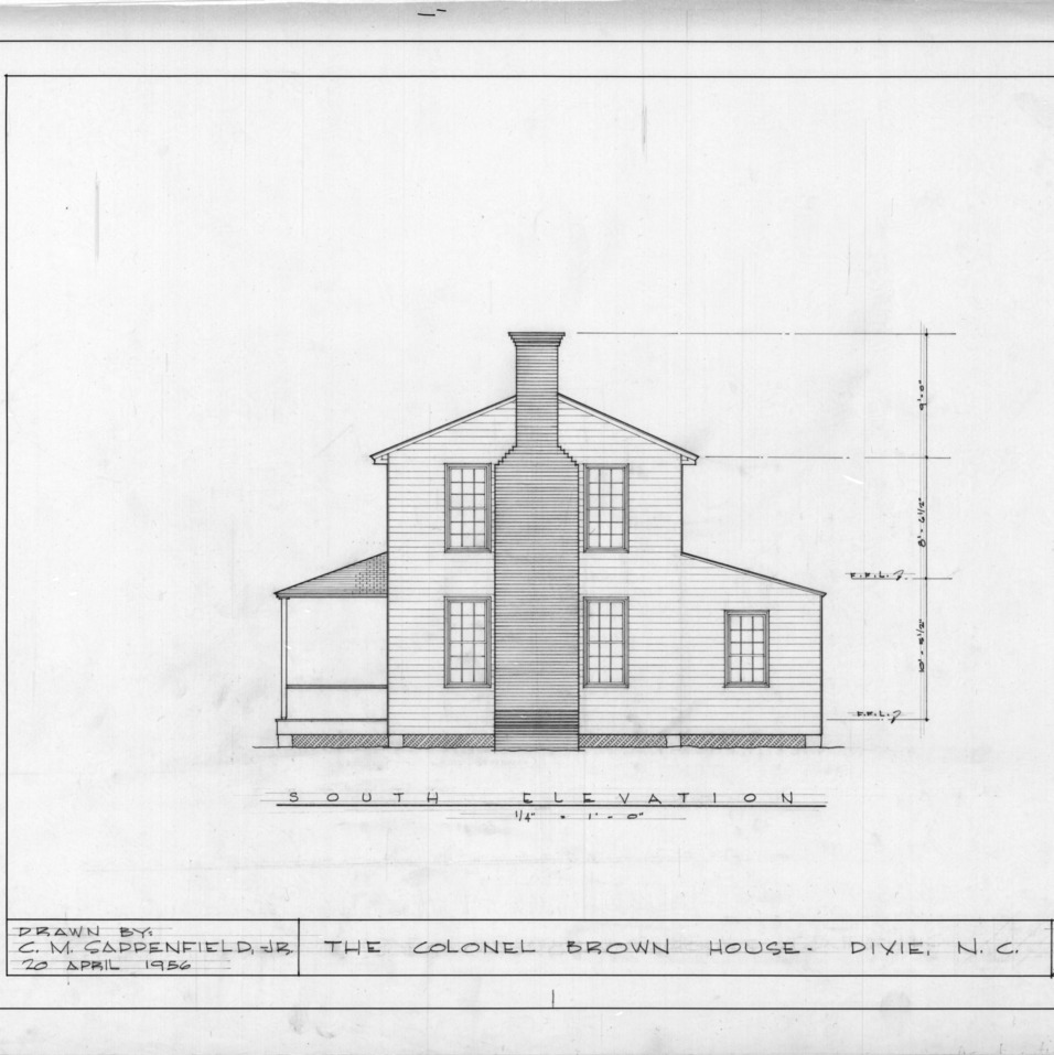 South elevation, Colonel Benjamin Franklin Brown House, Dixie, North Carolina