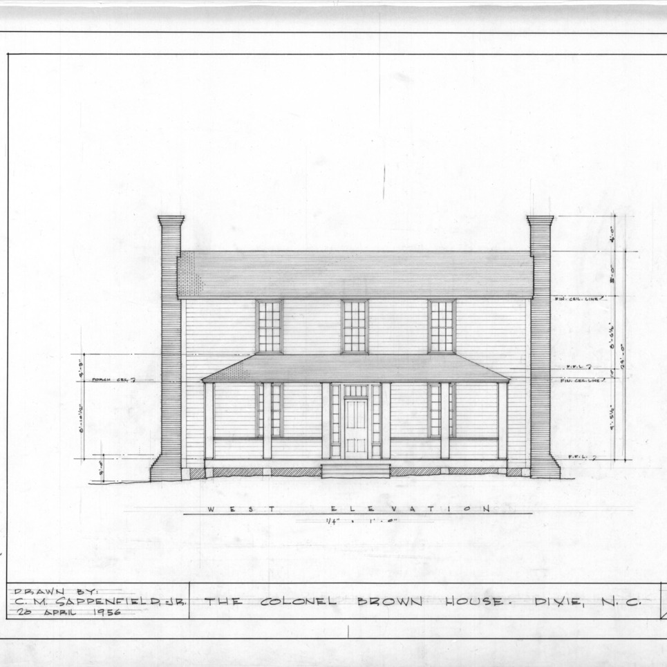 West elevation, Colonel Benjamin Franklin Brown House, Dixie, North Carolina
