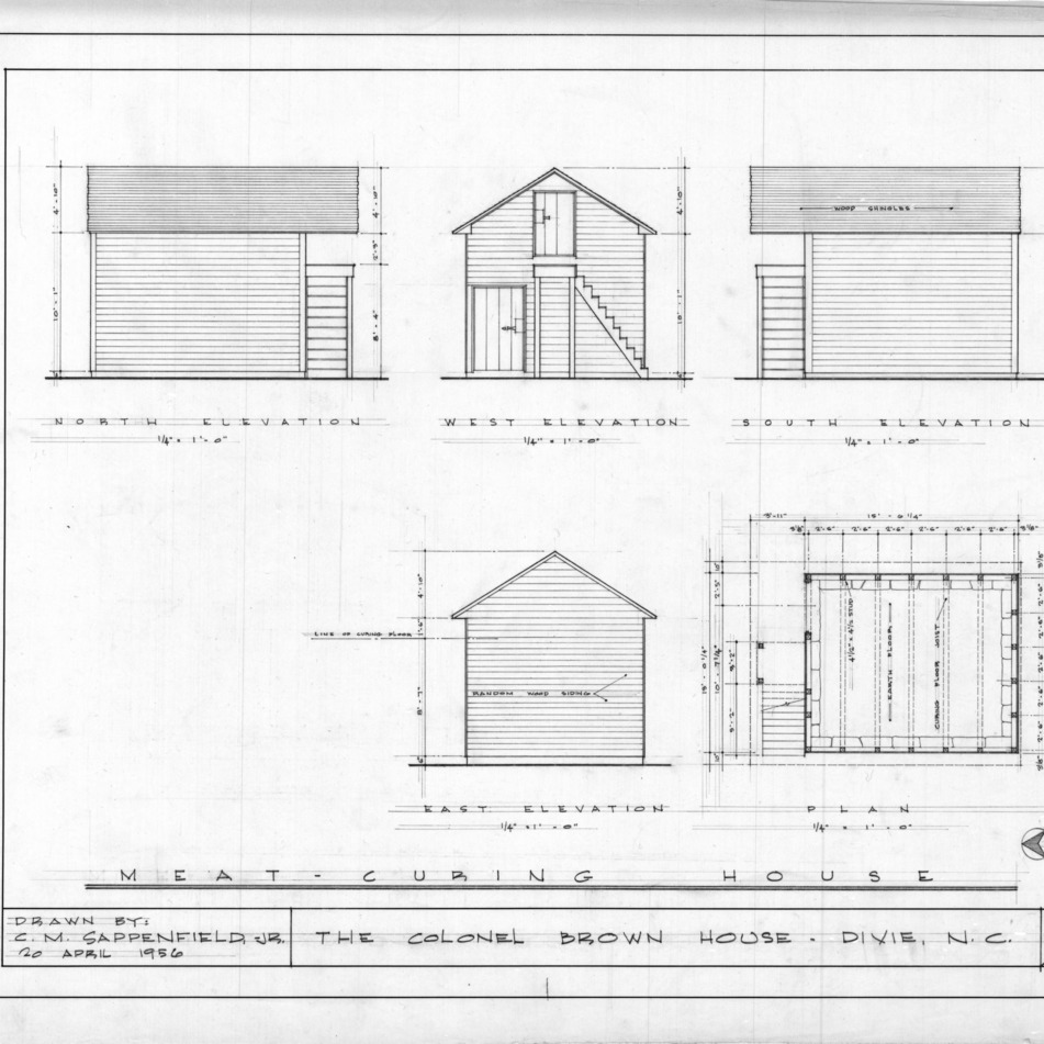 Smokehouse elevations and plan, Colonel Benjamin Franklin Brown House, Dixie, North Carolina