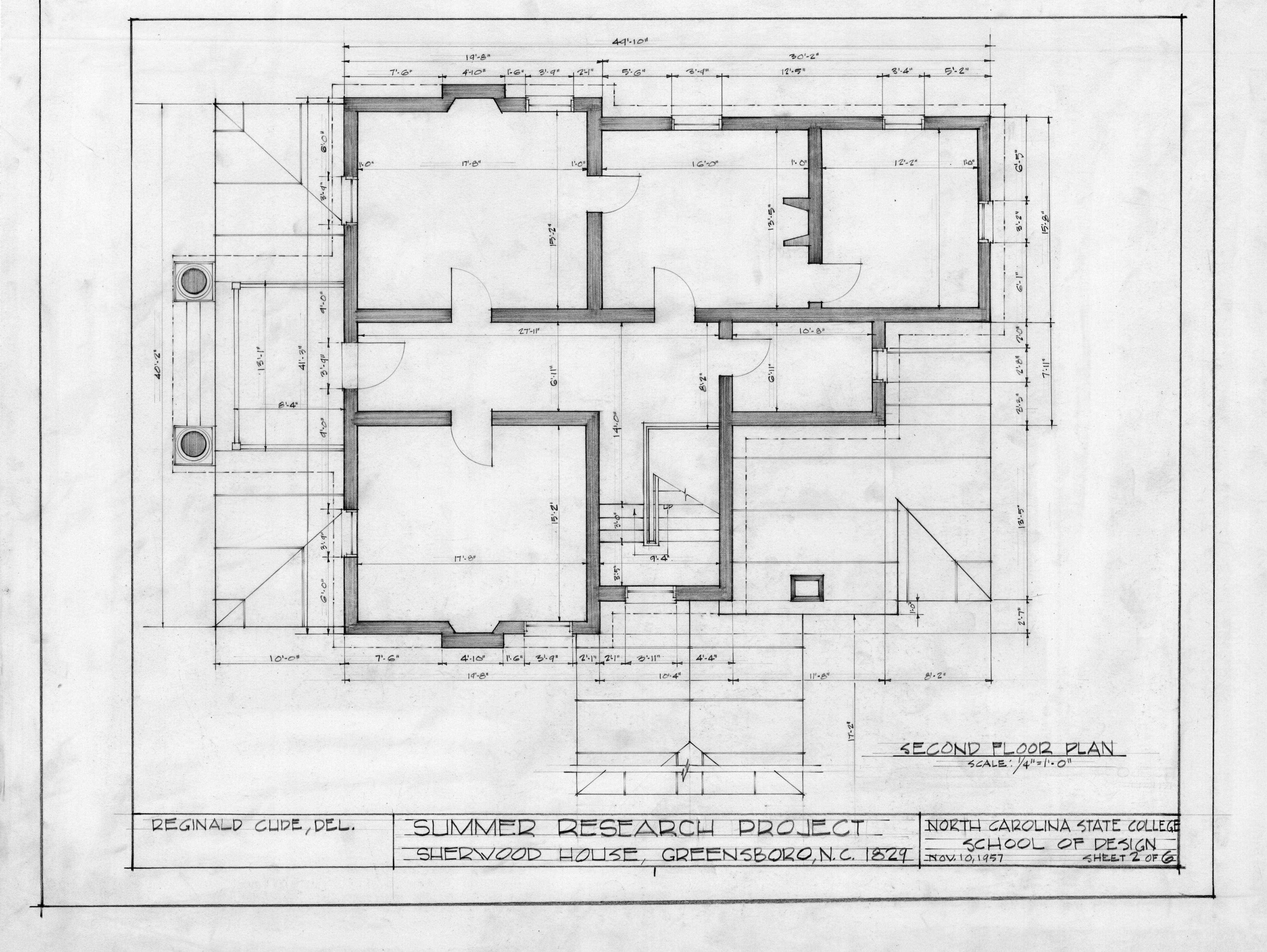 Second Floor Plan Sherwood House Greensboro North