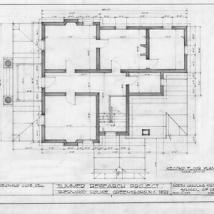 Second floor plan, Sherwood House, Greensboro, North Carolina