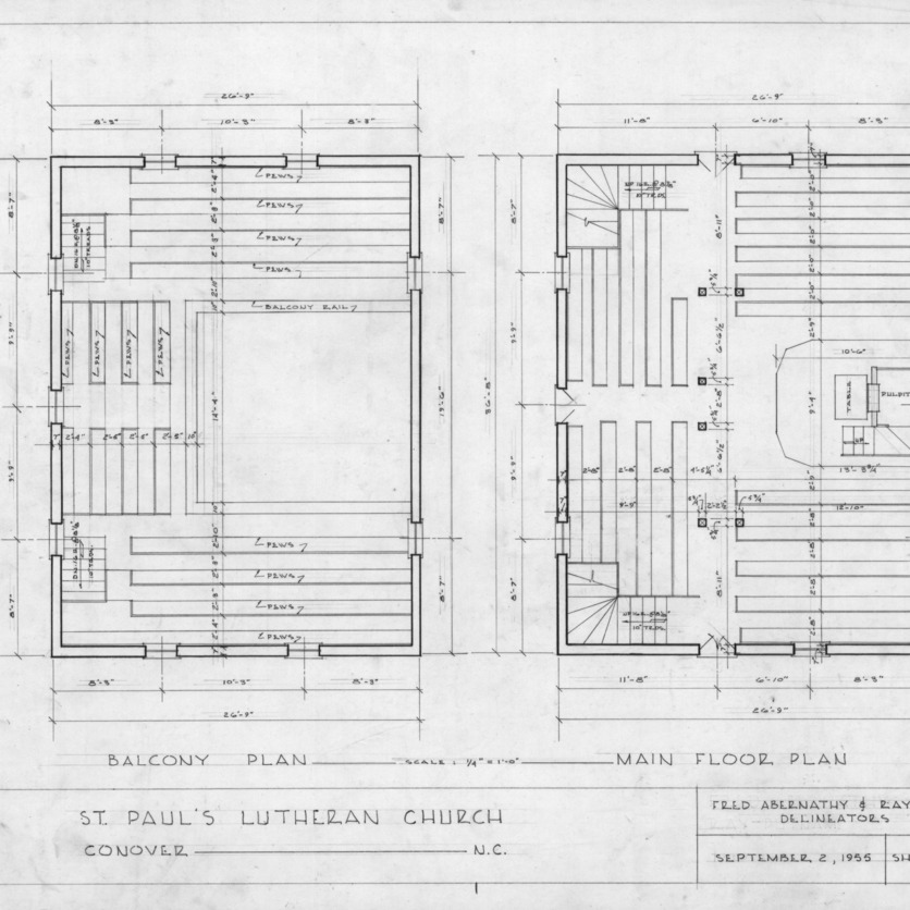 Floor plans, Old St. Paul's Lutheran Church, Catawba County, North Carolina