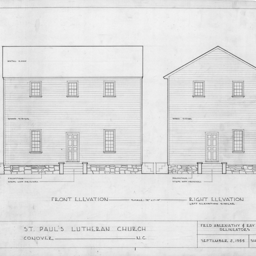 Front and right elevations, Old St. Paul's Lutheran Church, Catawba County, North Carolina