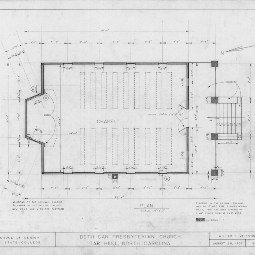 Floor plan, Beth Car Chapel, Bladen County, North Carolina