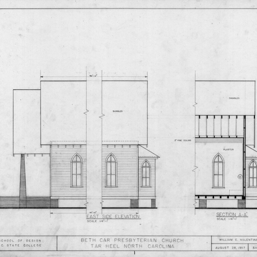 East elevation and partial section, Beth Car Chapel, Bladen County, North Carolina