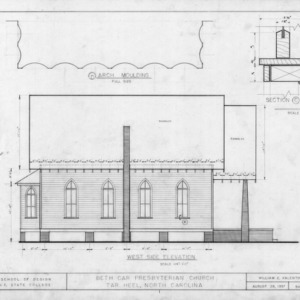 West elevation and details, Beth Car Chapel, Bladen County, North Carolina