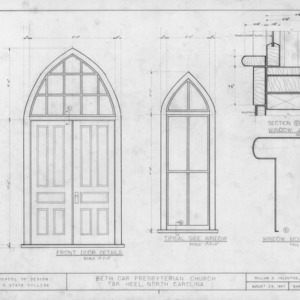 Door and window details, Beth Car Chapel, Bladen County, North Carolina