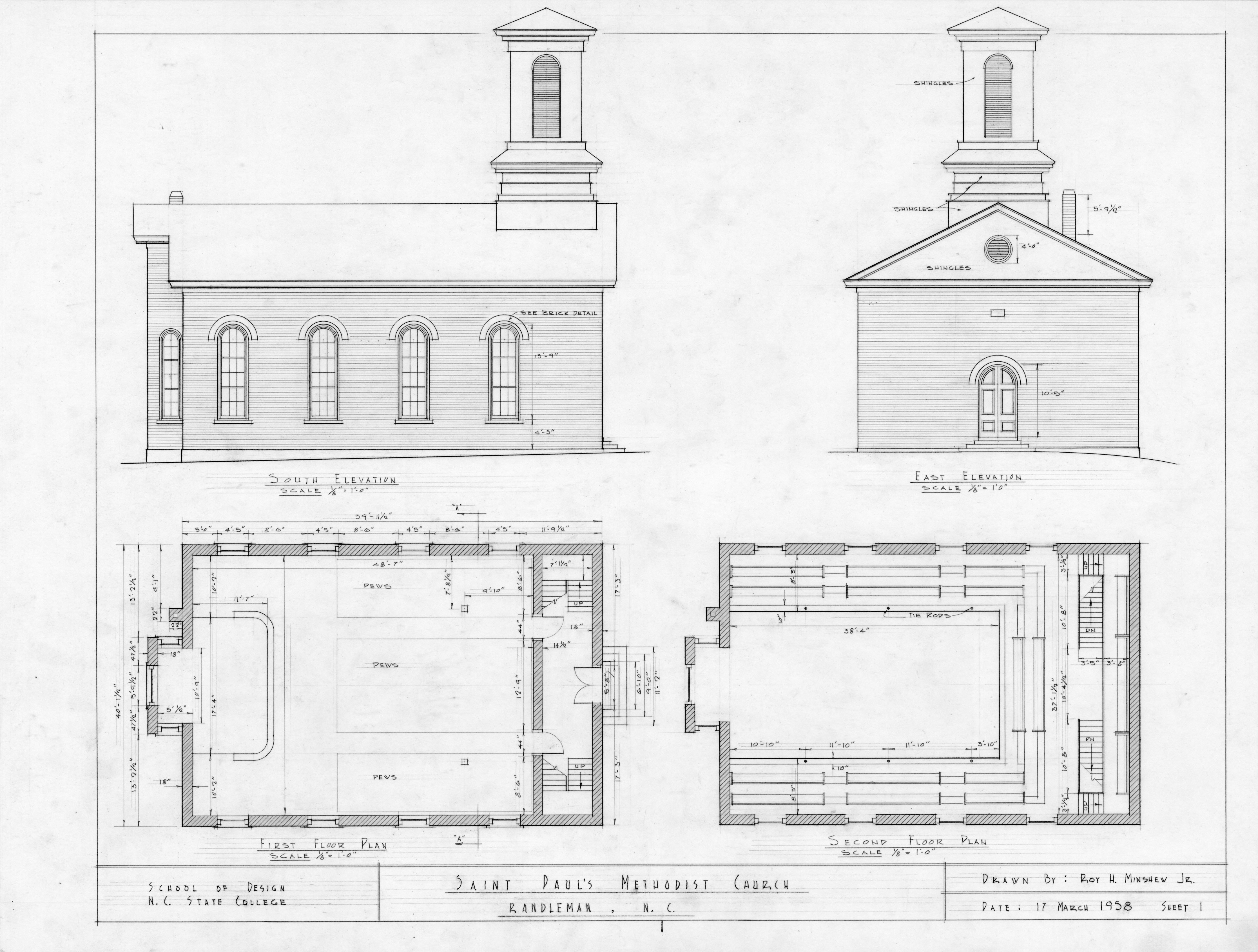 Elevations And Floor Plans St Paul 39 S Methodist Church