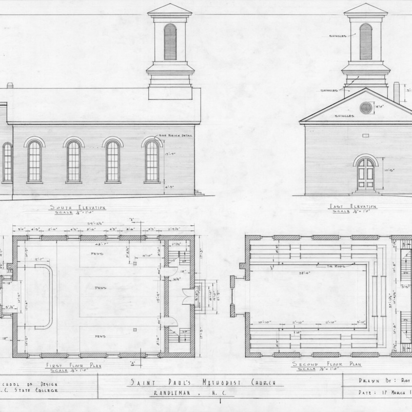 Elevations and floor plans, St. Paul's Methodist Church, Randleman, North Carolina