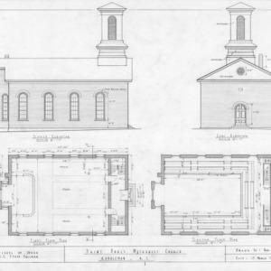 Elevations and floor plans, St. Paul's Methodist Church, Randleman, North Carolina