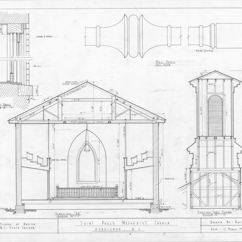 Cross section and details, St. Paul's Methodist Church, Randleman, North Carolina