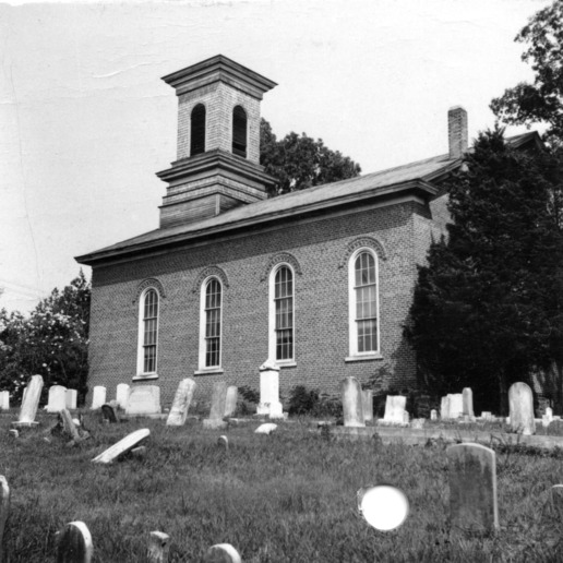 Side view with cemetery, St. Paul's Methodist Church, Randleman, North Carolina