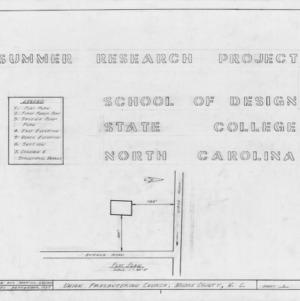 Legend and site plan, Union Presbyterian Church, Moore County, North Carolina