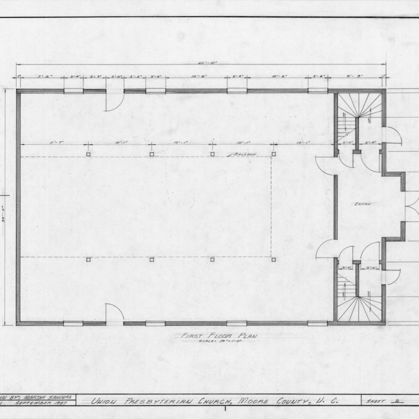 First floor plan, Union Presbyterian Church, Moore County, North Carolina