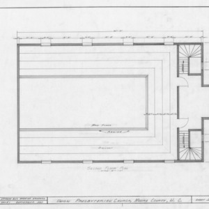Second floor plan, Union Presbyterian Church, Moore County, North Carolina